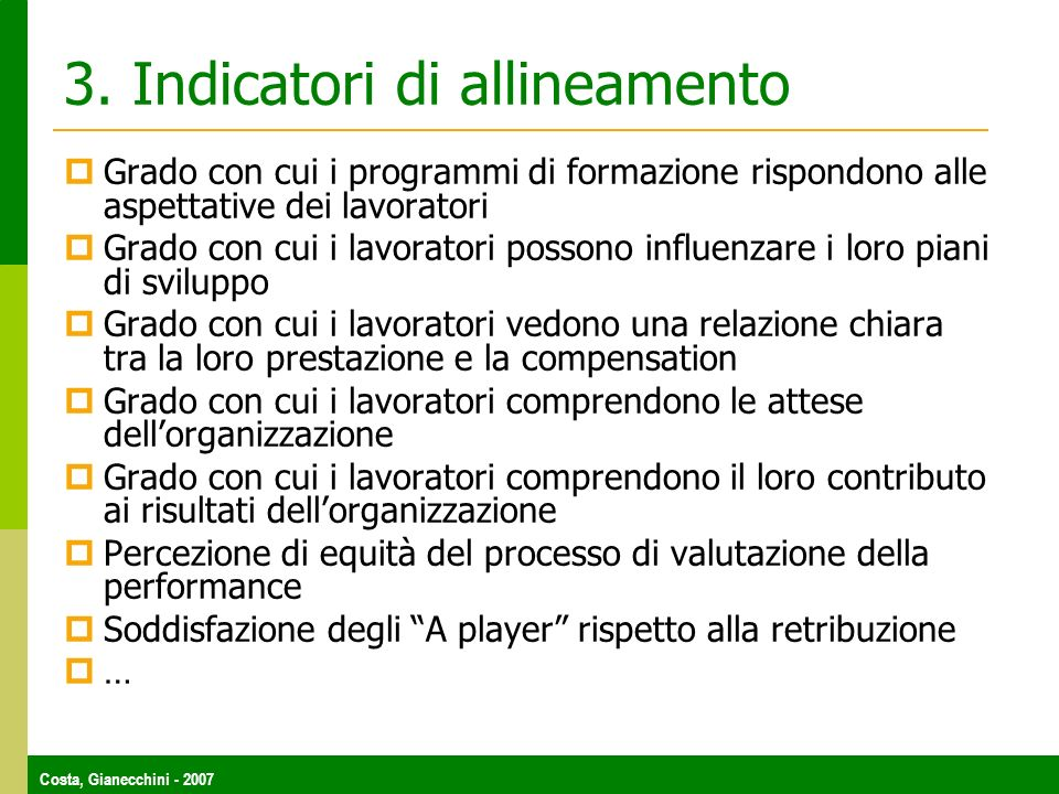 3. Indicatori di allineamento