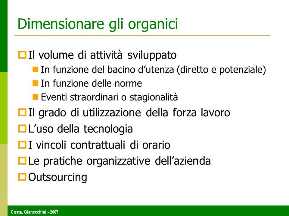 Dimensionare gli organici