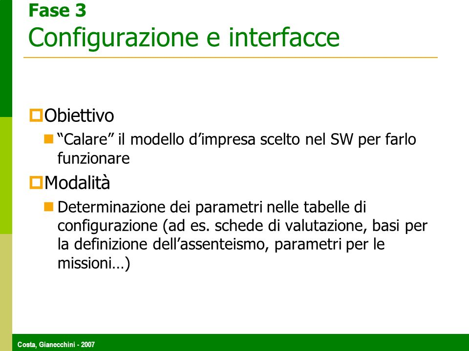 Fase 3 Configurazione e interfacce