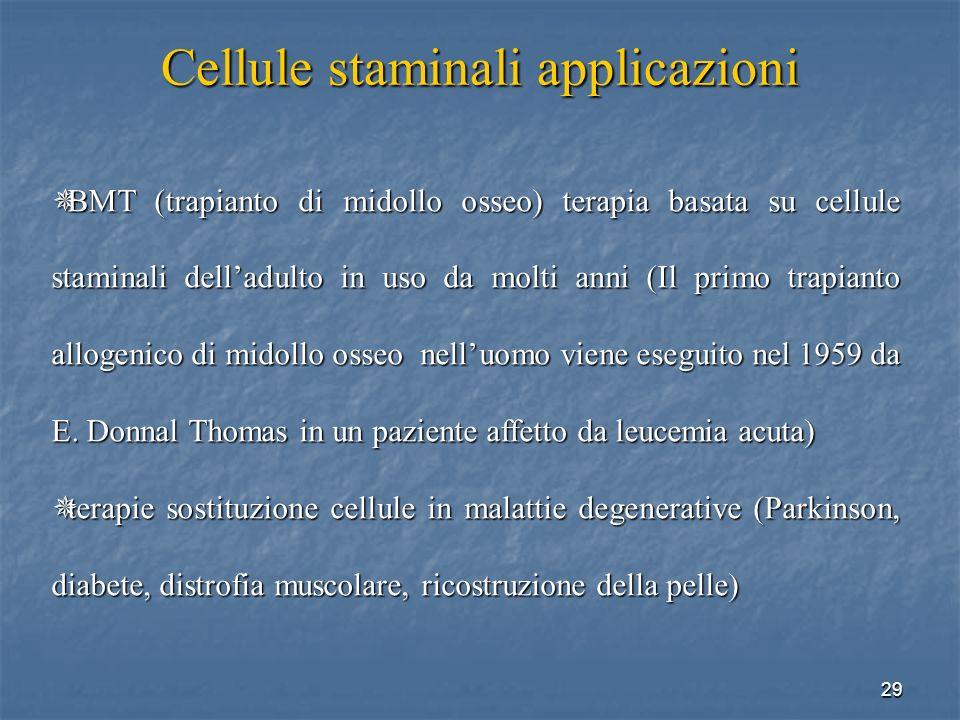 Cellule staminali applicazioni