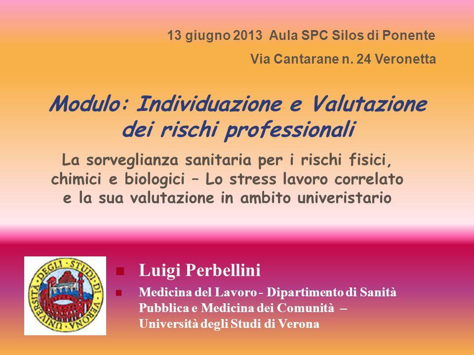 Modulo: Individuazione e Valutazione dei rischi professionali