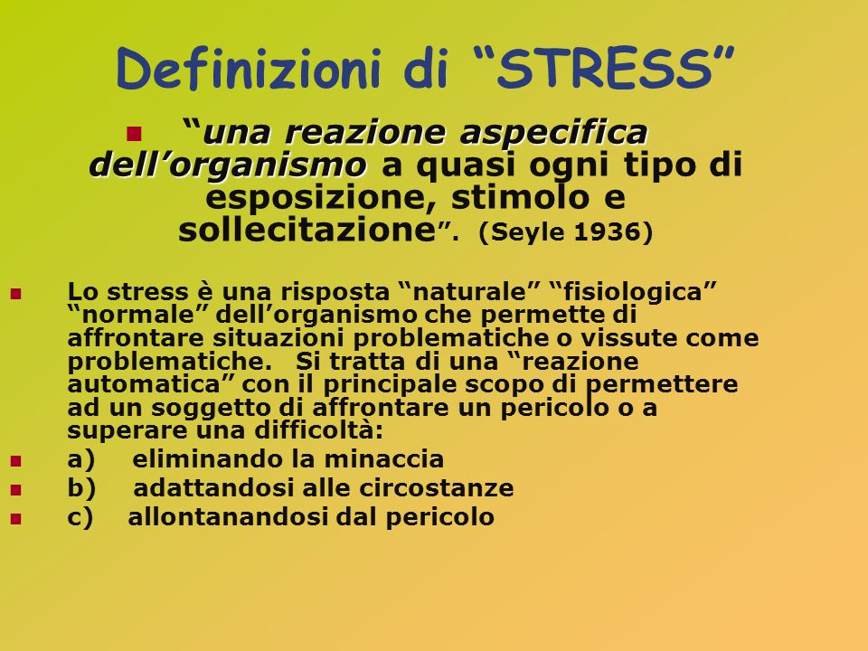 Definizioni di STRESS