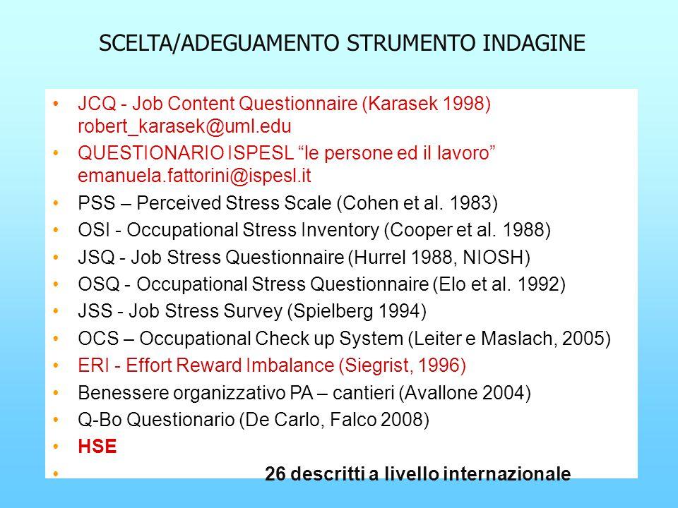 SCELTA/ADEGUAMENTO STRUMENTO INDAGINE