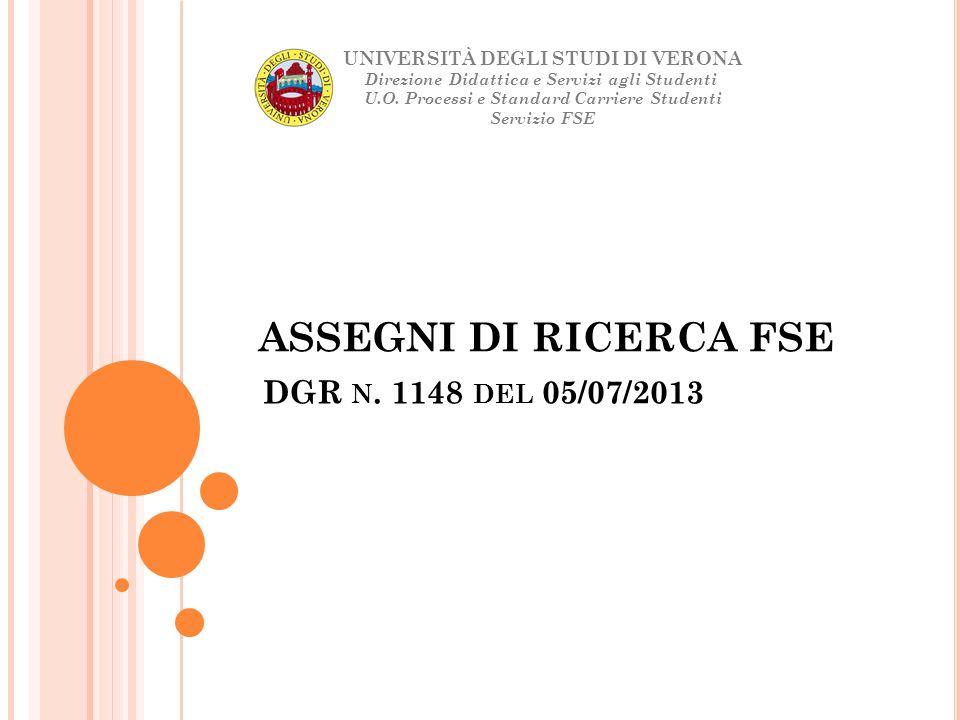 ASSEGNI DI RICERCA FSE DGR n. 1148 del 05/07/2013
