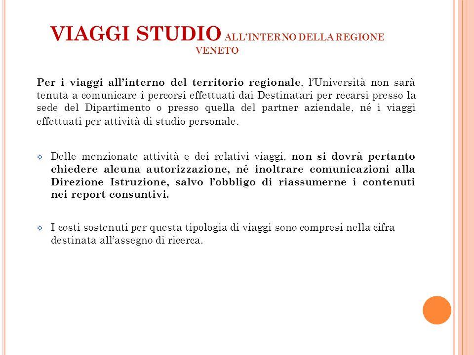 VIAGGI STUDIO ALL'INTERNO DELLA REGIONE VENETO