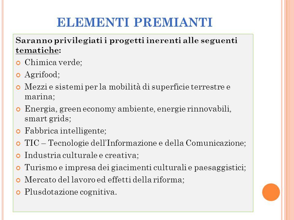 ELEMENTI PREMIANTI Saranno privilegiati i progetti inerenti alle seguenti tematiche: Chimica verde;