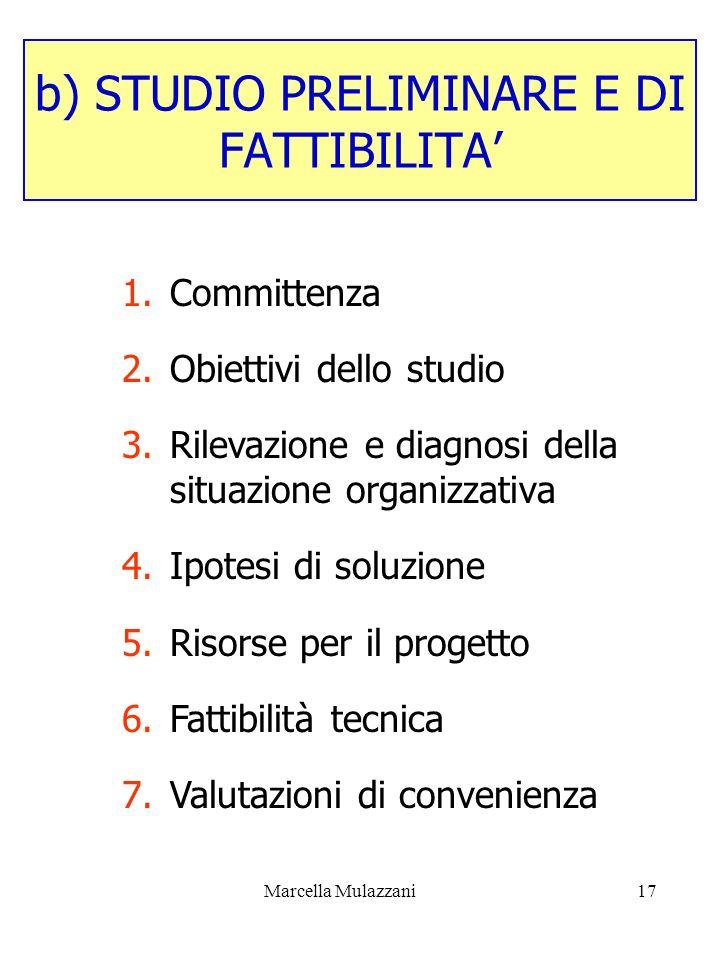 b) STUDIO PRELIMINARE E DI FATTIBILITA'