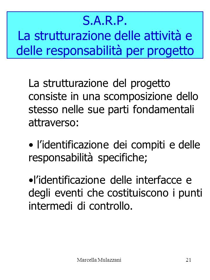 S.A.R.P. La strutturazione delle attività e delle responsabilità per progetto