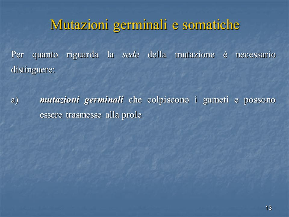 Mutazioni germinali e somatiche