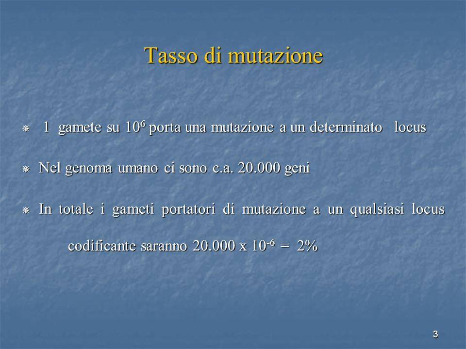 Tasso di mutazione 1 gamete su 106 porta una mutazione a un determinato locus. Nel genoma umano ci sono c.a. 20.000 geni.