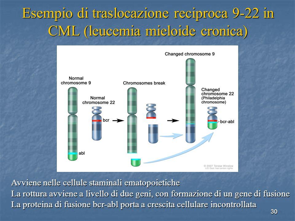 Esempio di traslocazione reciproca 9-22 in CML (leucemia mieloide cronica)