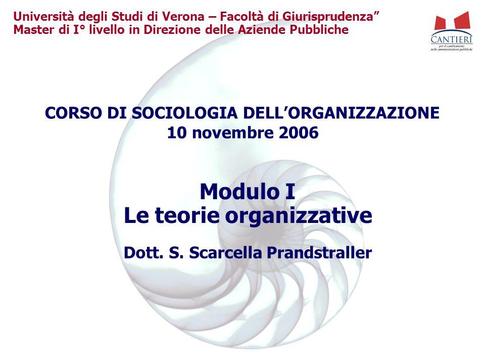 Modulo I Le teorie organizzative