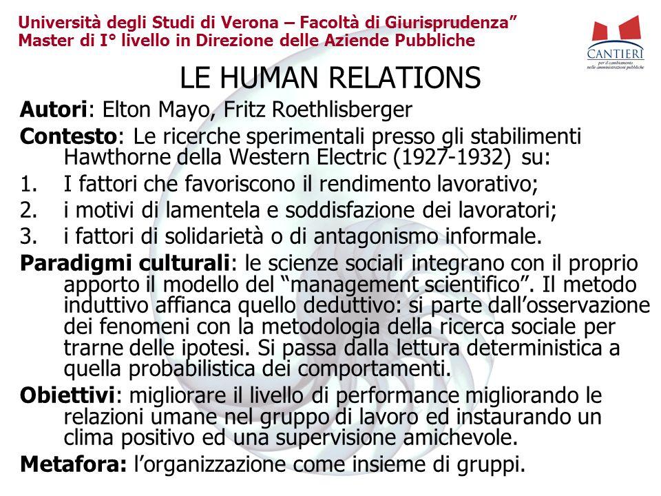 LE HUMAN RELATIONS Autori: Elton Mayo, Fritz Roethlisberger
