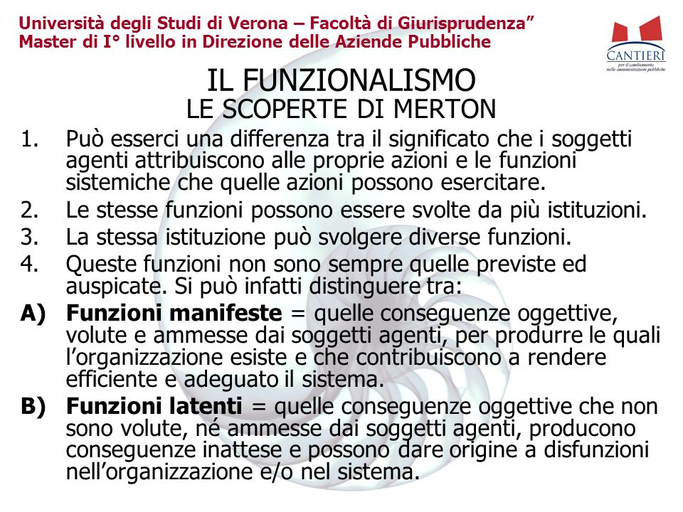 IL FUNZIONALISMO LE SCOPERTE DI MERTON