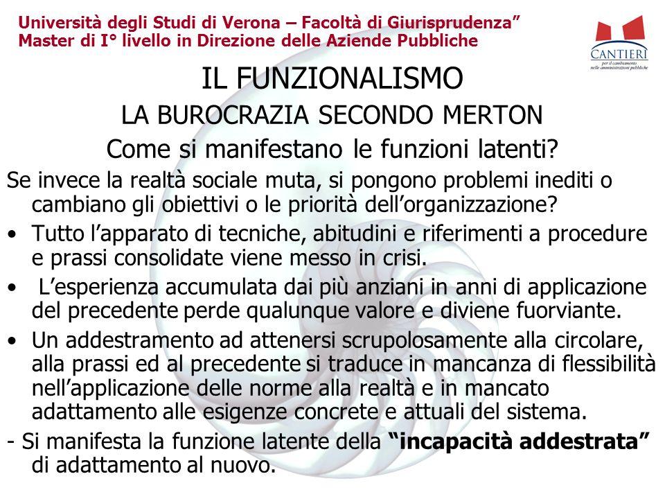IL FUNZIONALISMO LA BUROCRAZIA SECONDO MERTON