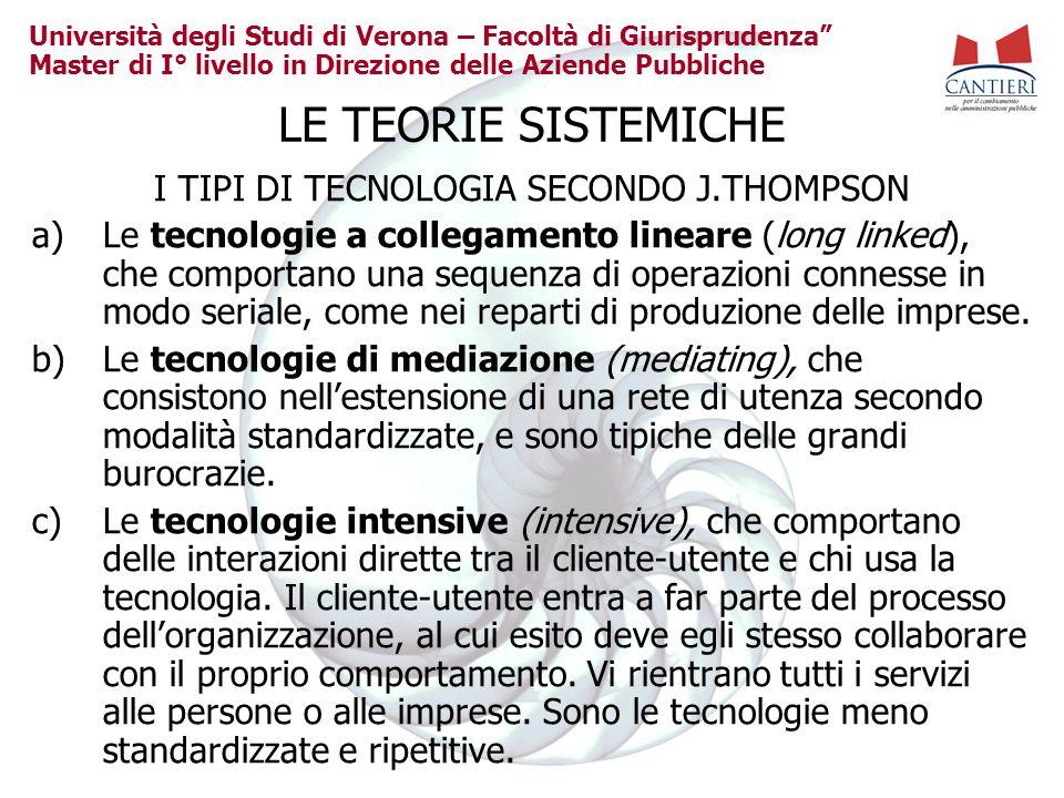 I TIPI DI TECNOLOGIA SECONDO J.THOMPSON