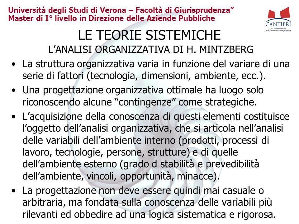 L'ANALISI ORGANIZZATIVA DI H. MINTZBERG