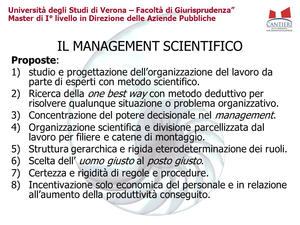 IL MANAGEMENT SCIENTIFICO