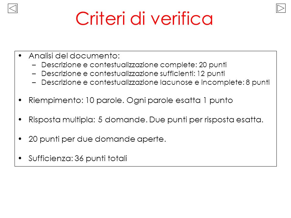 Criteri di verifica Analisi del documento: