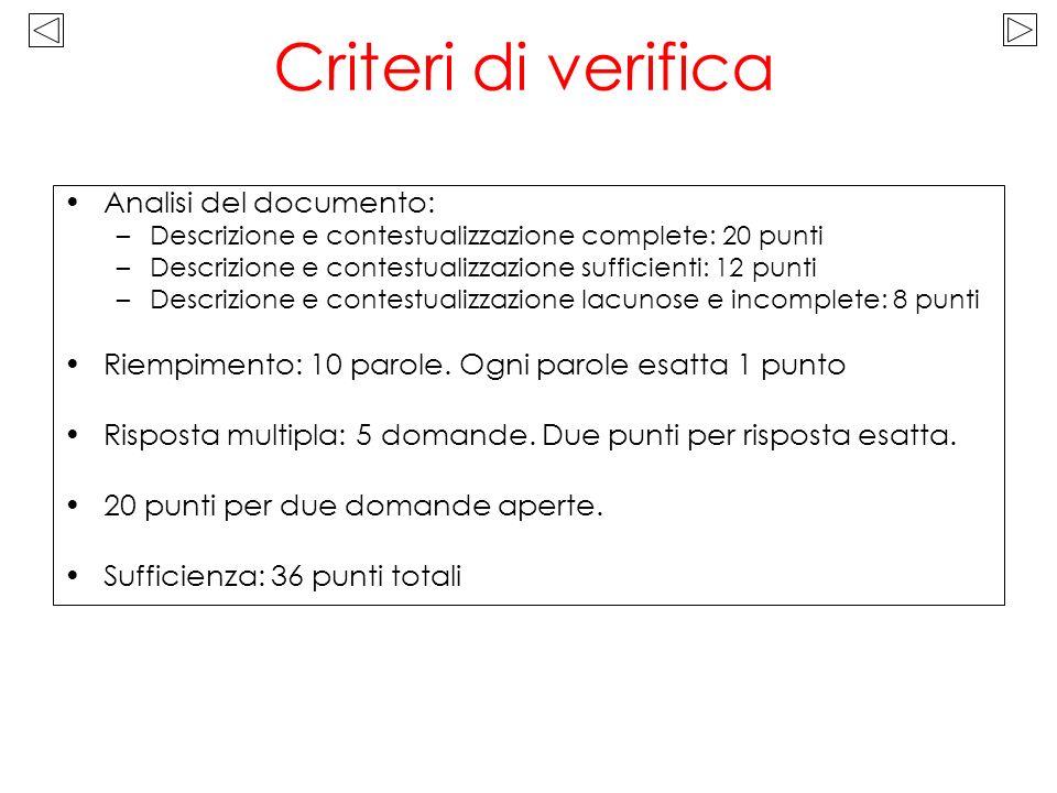 Criteri di verifica Analisi del documento:
