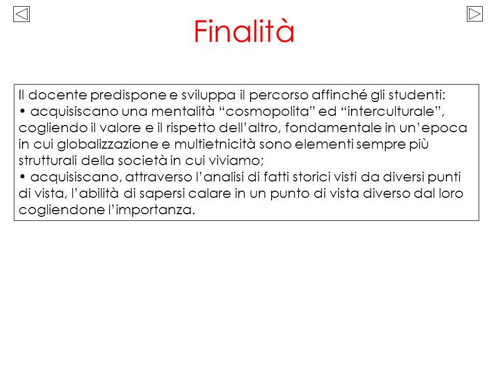 Finalità Il docente predispone e sviluppa il percorso affinché gli studenti: