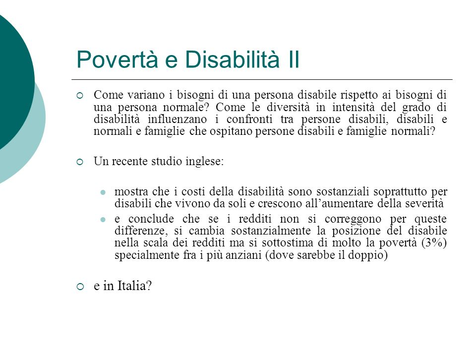 Povertà e Disabilità II