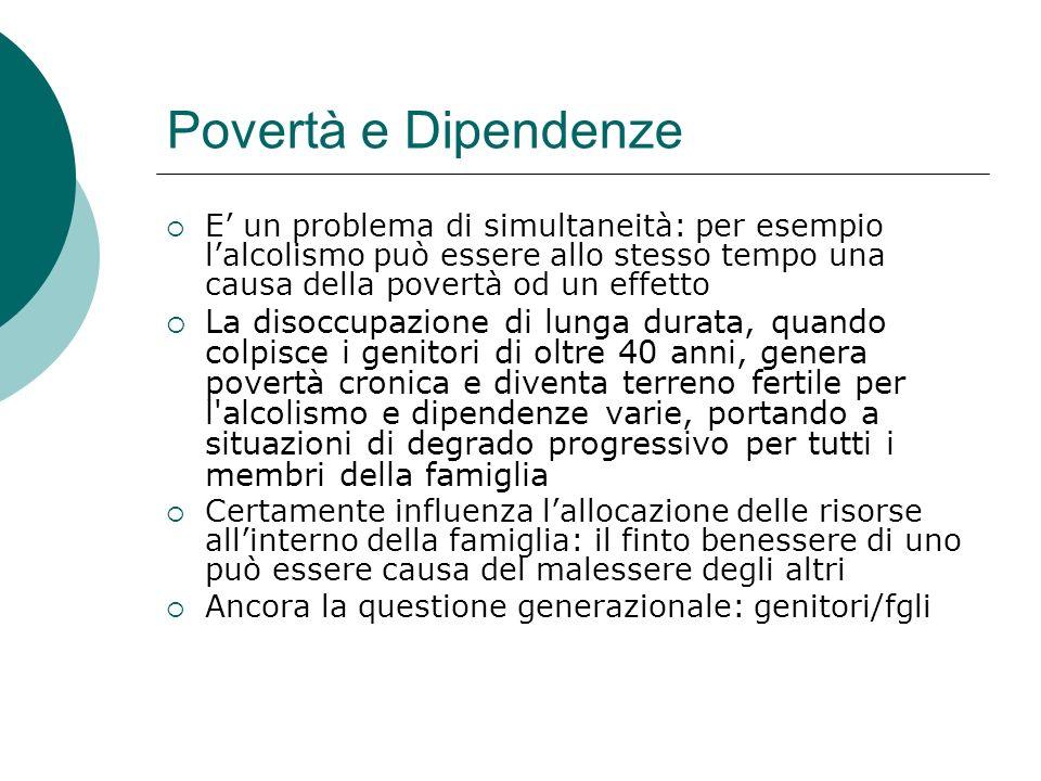Povertà e Dipendenze E' un problema di simultaneità: per esempio l'alcolismo può essere allo stesso tempo una causa della povertà od un effetto.