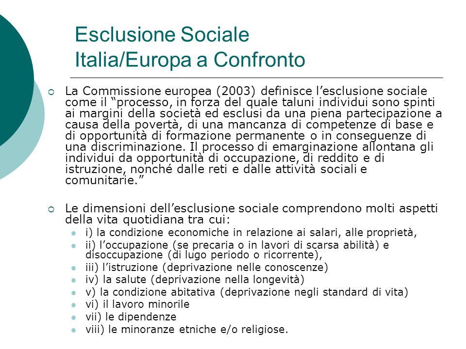 Esclusione Sociale Italia/Europa a Confronto