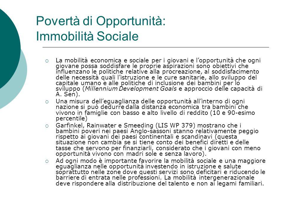 Povertà di Opportunità: Immobilità Sociale