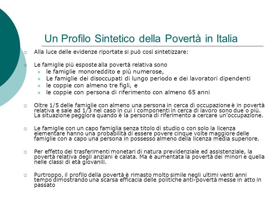 Un Profilo Sintetico della Povertà in Italia
