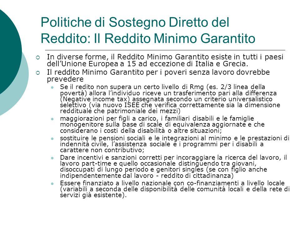 Politiche di Sostegno Diretto del Reddito: Il Reddito Minimo Garantito