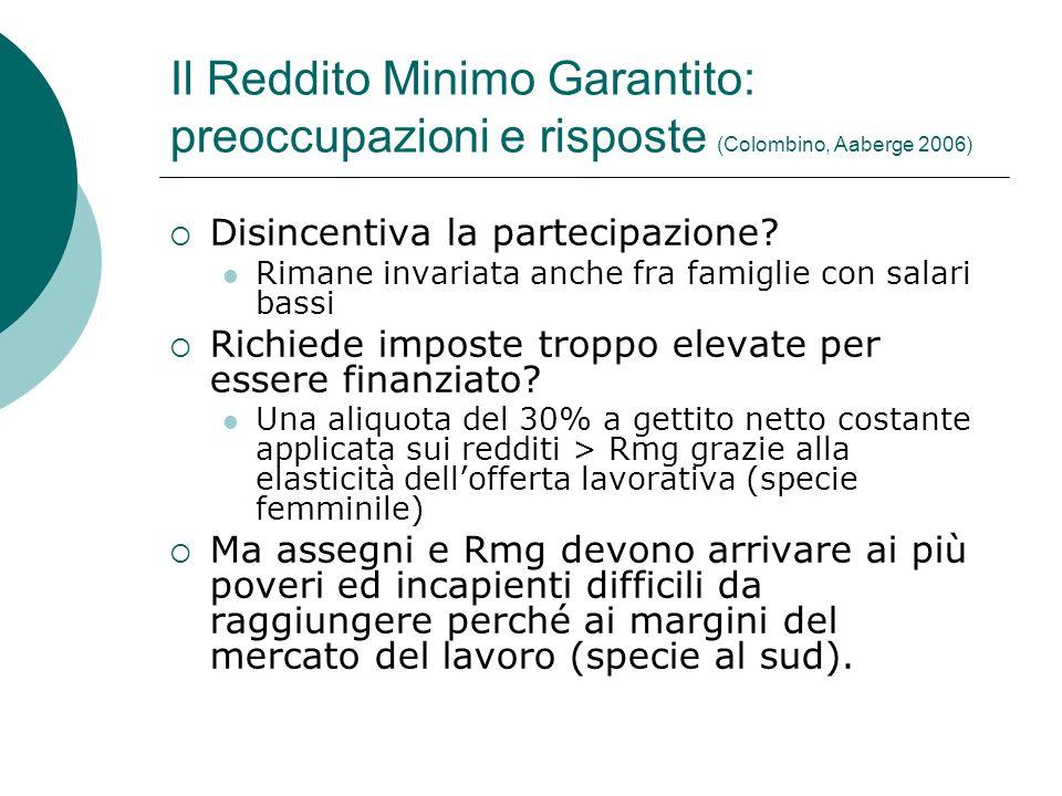 Il Reddito Minimo Garantito: preoccupazioni e risposte (Colombino, Aaberge 2006)