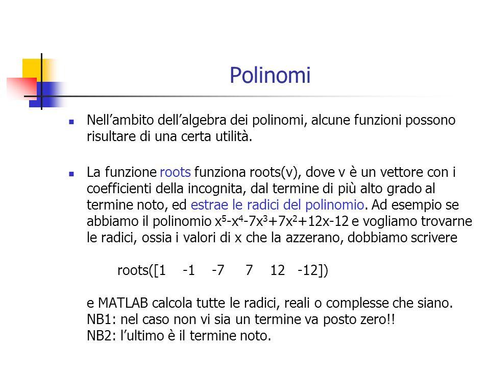 Polinomi Nell'ambito dell'algebra dei polinomi, alcune funzioni possono risultare di una certa utilità.
