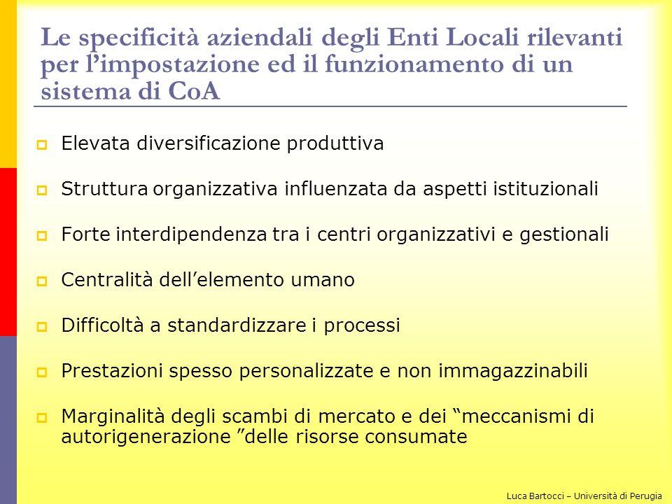 Le specificità aziendali degli Enti Locali rilevanti per l'impostazione ed il funzionamento di un sistema di CoA
