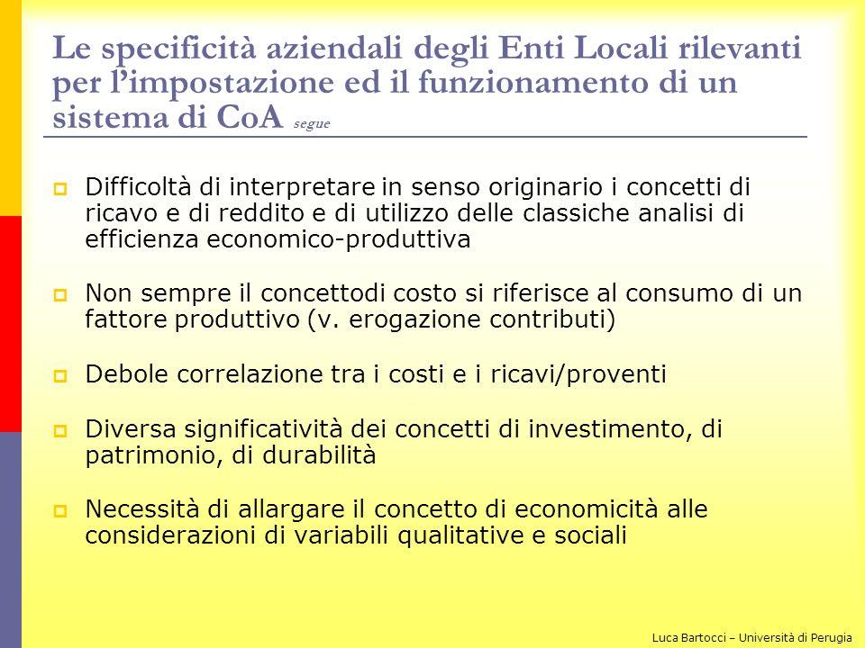Le specificità aziendali degli Enti Locali rilevanti per l'impostazione ed il funzionamento di un sistema di CoA segue