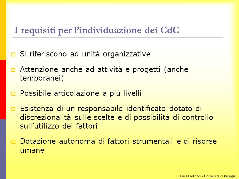 I requisiti per l'individuazione dei CdC