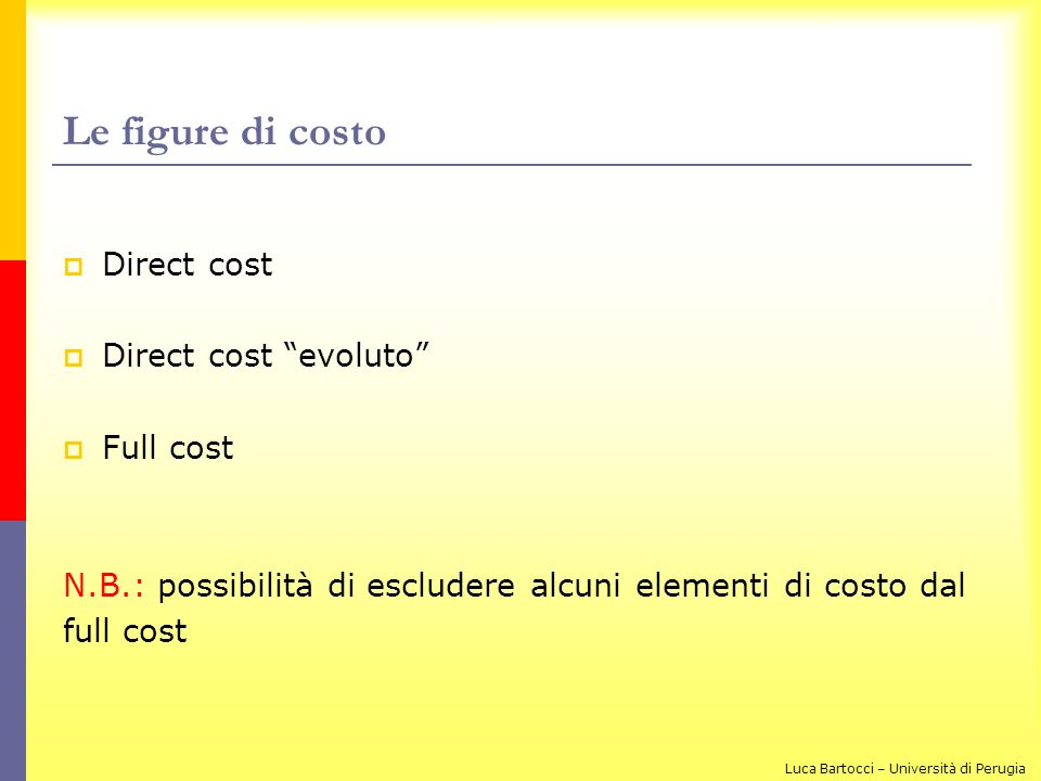 Le figure di costo Direct cost Direct cost evoluto Full cost