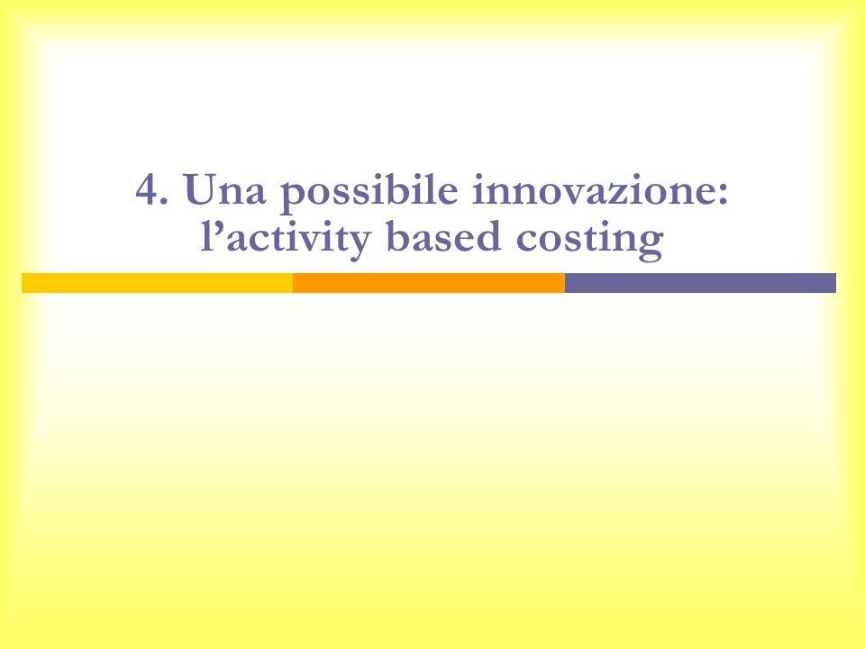4. Una possibile innovazione: l'activity based costing