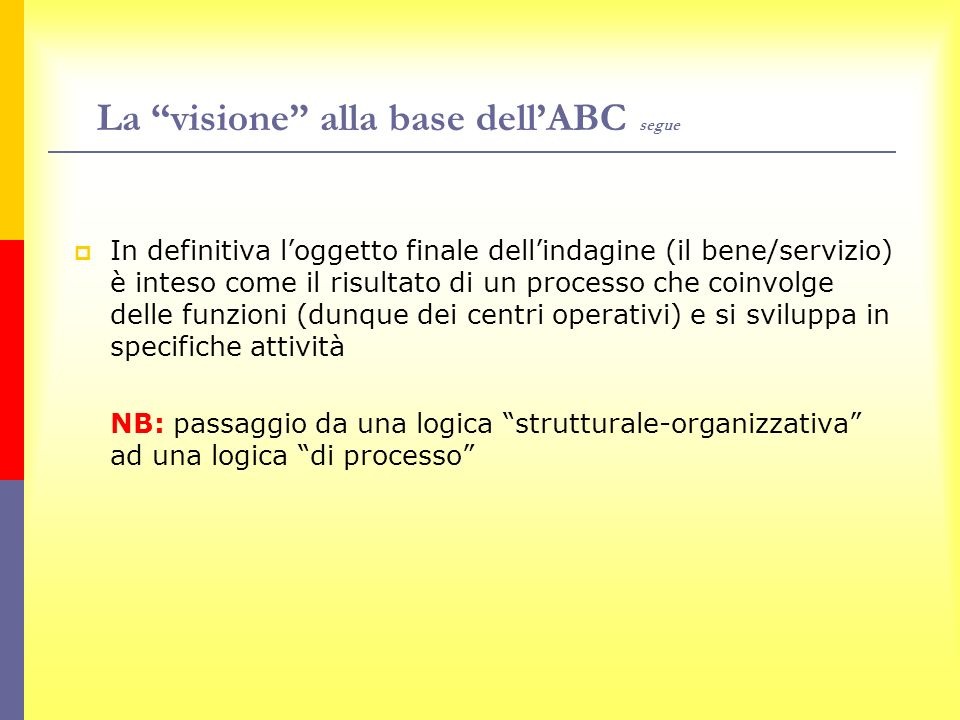 La visione alla base dell'ABC segue