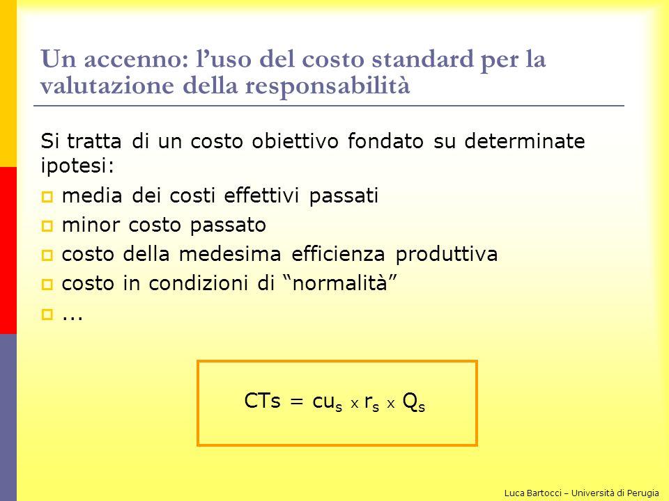Un accenno: l'uso del costo standard per la valutazione della responsabilità