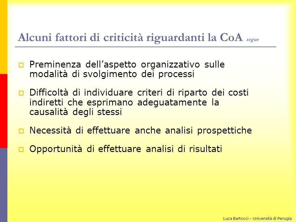 Alcuni fattori di criticità riguardanti la CoA segue