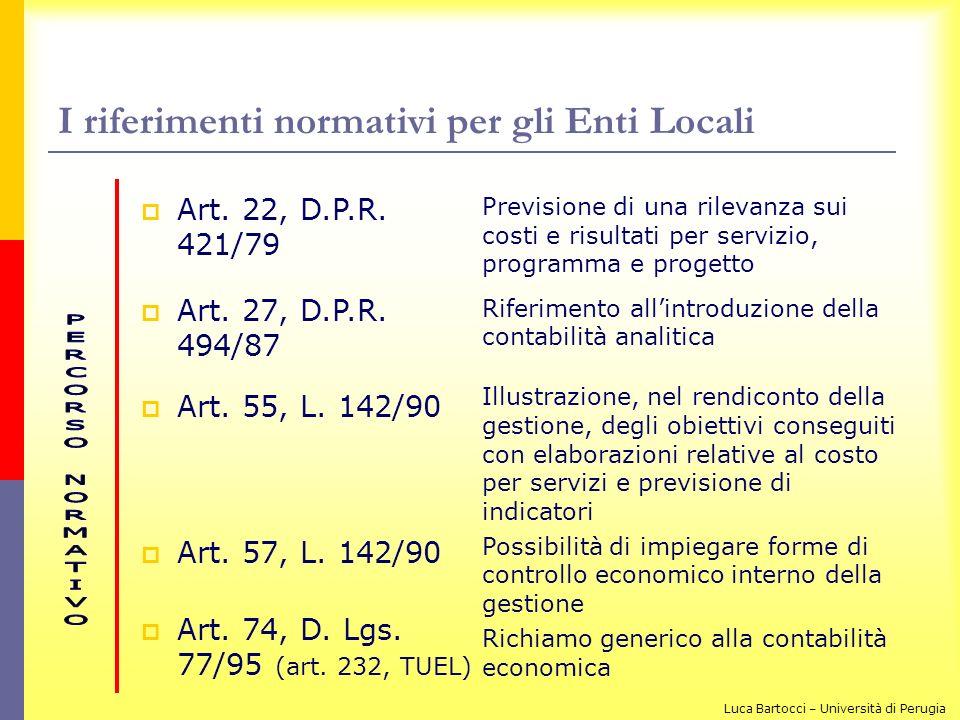 I riferimenti normativi per gli Enti Locali