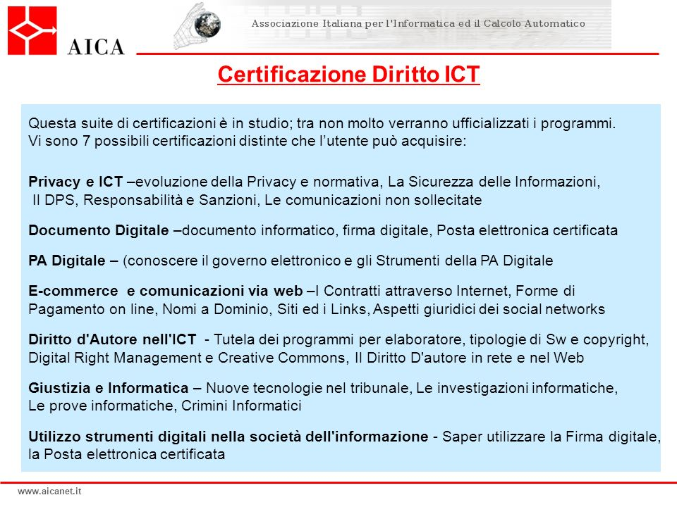 Certificazione Diritto ICT