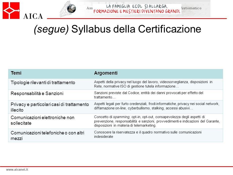 (segue) Syllabus della Certificazione