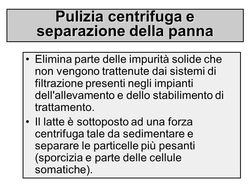 Pulizia centrifuga e separazione della panna