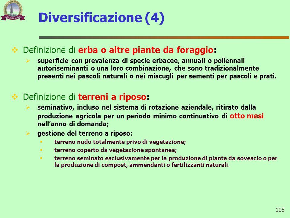 Diversificazione (4) Definizione di erba o altre piante da foraggio: