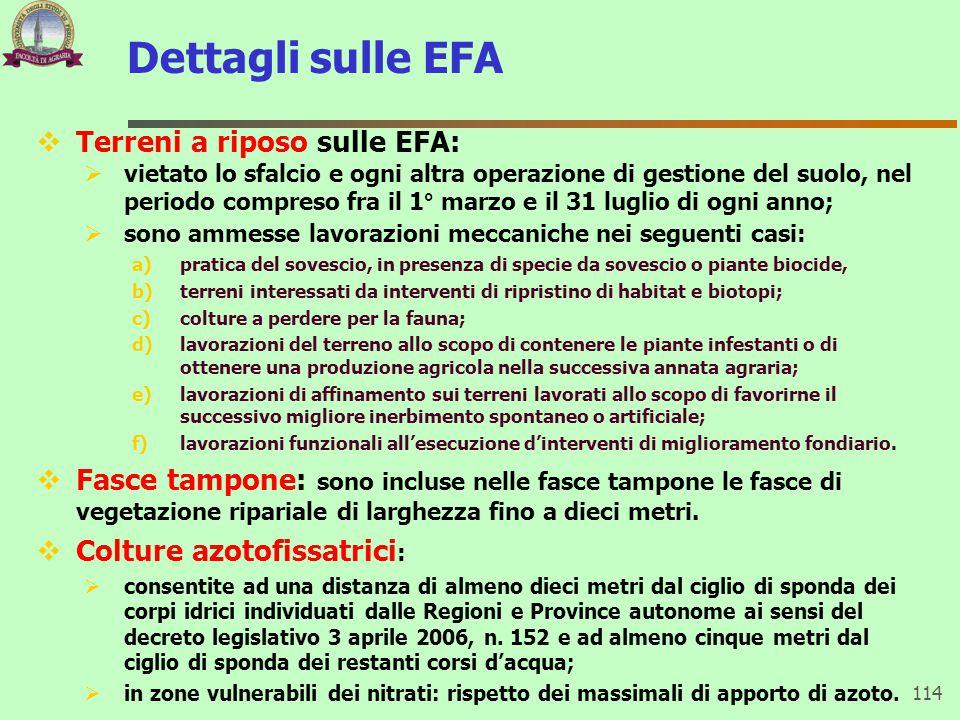 Dettagli sulle EFA Terreni a riposo sulle EFA: