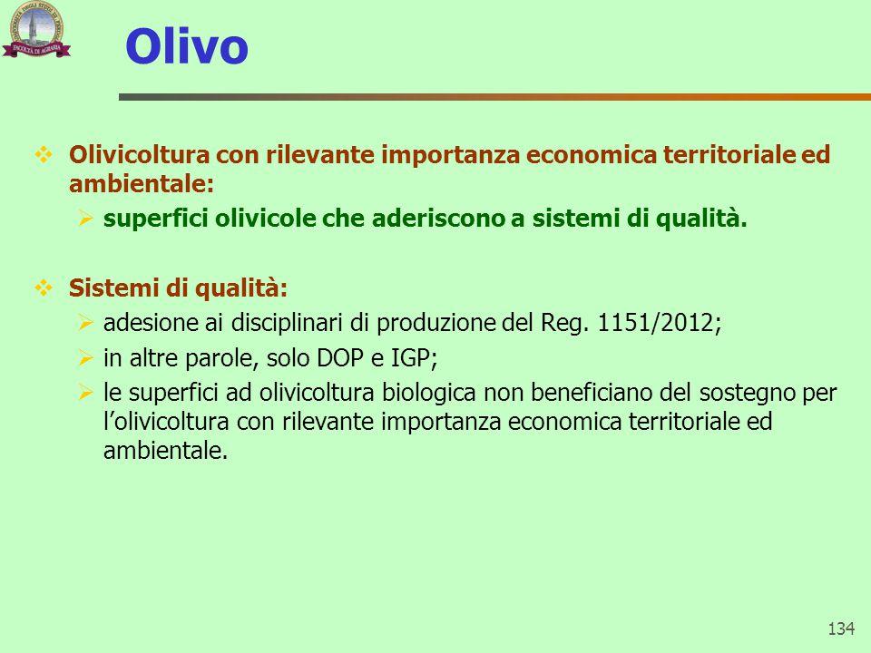 Olivo Olivicoltura con rilevante importanza economica territoriale ed ambientale: superfici olivicole che aderiscono a sistemi di qualità.