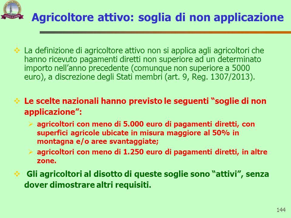 Agricoltore attivo: soglia di non applicazione