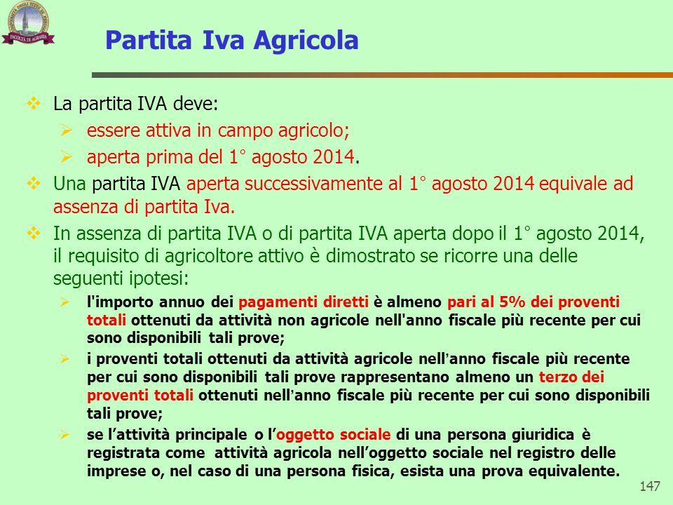 Partita Iva Agricola La partita IVA deve: